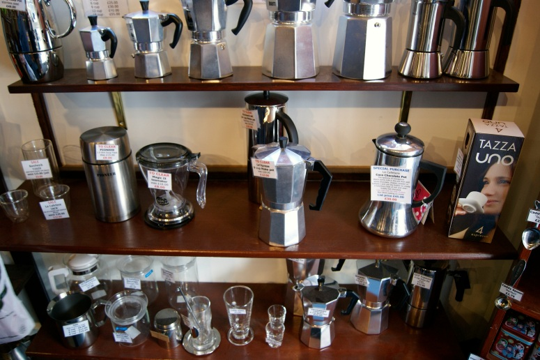 Apart from coffee and tea, the shop also stocks a variety of brewing merchandise and condiments