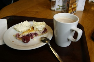 Mocha and raspberry cheesecake at Henderon's of Edinburgh