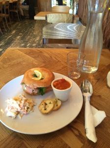 Salmon bagel lunch at Sweet Mumma's